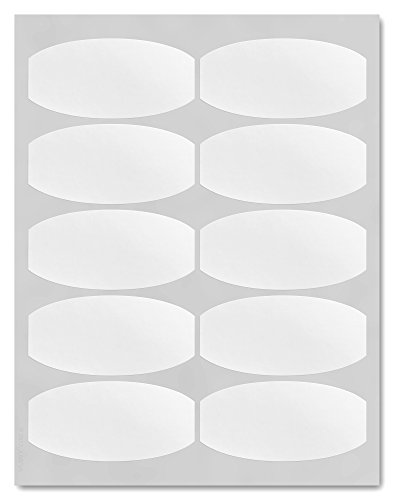 (Waterproof White Matte 3.875 x 1.875 inch Semi-Oval Labels for Laser Printers with Downloadable Template and Printing Instructions, 5 Sheets, 50 Labels (WP38))