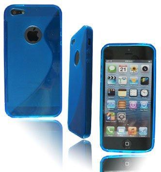 neuen, stilvollen S Line Blau Gel Weiche Rückseite Schutzhülle für Apple I Phone 5+ Displayschutzfolie