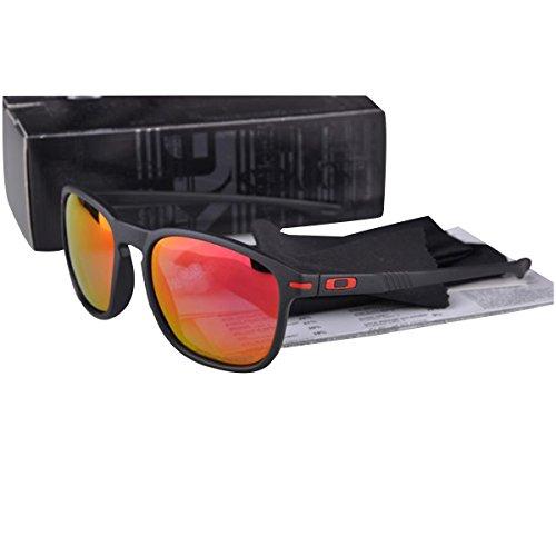 Outdoor UV protection Stylish Enduro Sunglasses Matte Black Red Frame Fire Iridium OO - Oo Black Iridium Polarized