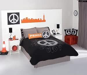 Amazon.com: Peace Sign Grey Black Comforter Bedding Set ...