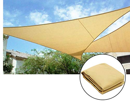 KM Mart Awning Top Cover Outdoor Canopy Patio Sun Shade Sail UV Top Awning Shelter Pool Keep Cool for Deck Patio Pergola Backyard Square Beige 16ft x 16ft Triangle Beige 16ft (Triangle) (Decks Backyard Detached)