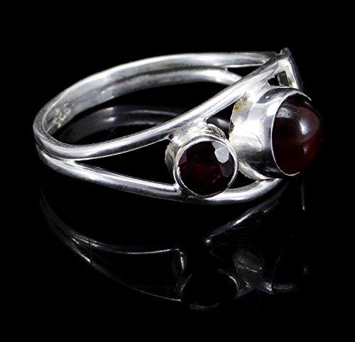 Banithani925 argent pur grenat gemme femmes indiennes bague de bijoux de mode