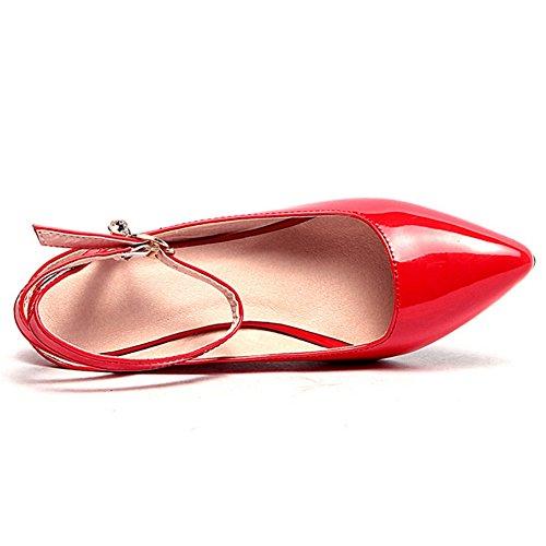 COOLCEPT Damen Mode Knochelriemchen Sandalen Geschlossene Keilabsatz Slingback Schuhe Rot