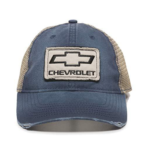 Baseball Hat Chevrolet (Chevrolet Vintage Frayed Navy/Khaki Mesh Cap)