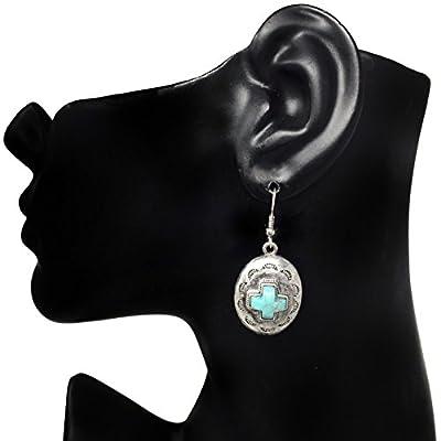 Western Style Imitation Turquoise Silver Tone Dangle Earrings