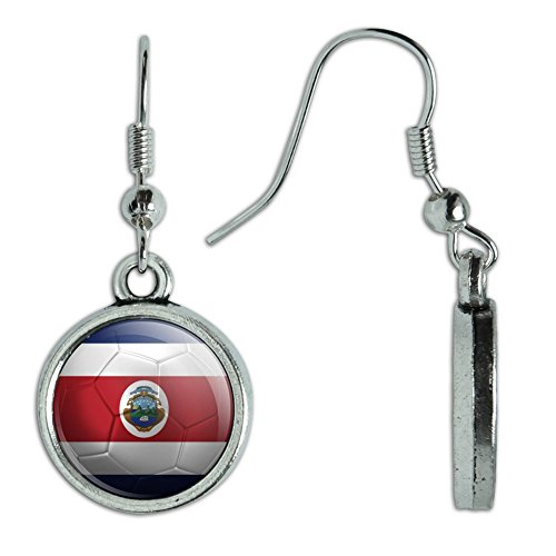 Novelty Dangling Drop Charm Earrings Soccer Futbol Football Country Flag A-I - Costa Rica Flag Soccer Ball