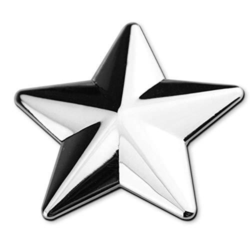 Chrome Car Badge - Yolu Car Logo Auto 3D Emblem Badge Sticker Chrome Letters Number DIY (Silver, Star Shape)