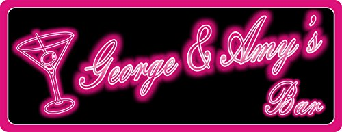 Martini Personalized Bar Sign (Hot Pink Faux Neon Lights Sign in Black with Martini & Olive Garnish Outline)