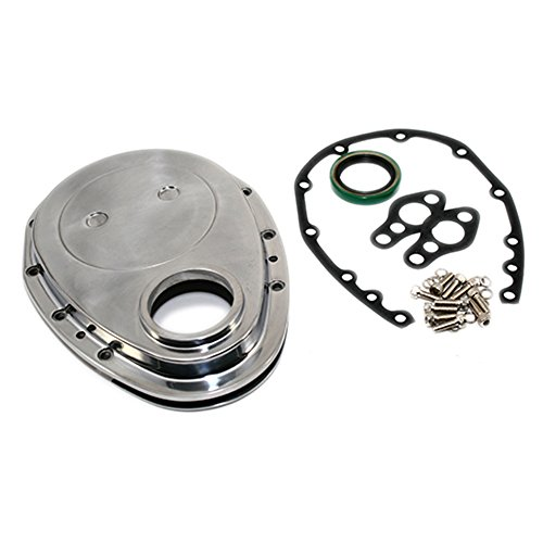 Assault Racing Products A6040BOX Small Block Chevy Polished Aluminum Timing Chain Cover Kit SBC 283 327 350 ()