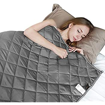 Image of LOOCHO Weighted Blanket 12lbs 48 x 72? Twin Heavy Blanket 4.0 ? 3 inch Quilted Weighted Throw 100% Cotton for Individual, Teens, Adults Anxiety, Dark Grey (60''x80'', 20) LOOCHO B07ZJ4291M Weighted Blankets