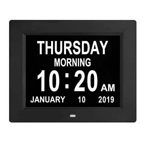 Digital Calendar Day Clocks Extra Large Non-Abbreviated Day&Month.Perfect for Seniors + Impaired Vision Dementia (Black,8-inch) (Best Digital Mixing Desk)
