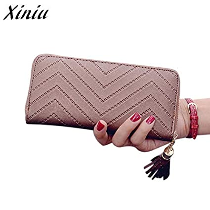 Amazon.com: Women Lady Leather Long Wallet Tassel Purse ...