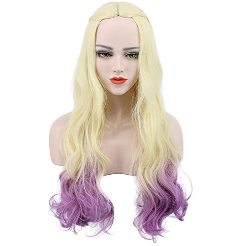 Karlery Beautiful Women's Fluffy Natural Curly Golden Gradient Purple Cosplay Wig for Halloween Costume Party (Costume Halloween Party Center)