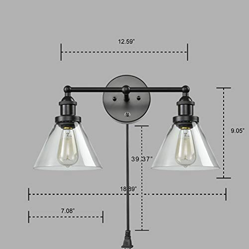 CLAXY Ecopower Lighting Mordern Glass & Metal 3-Lights Wall Sconce by CLAXY (Image #6)