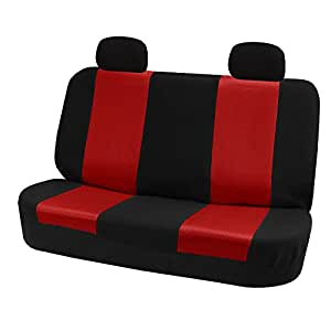 FH-FB102R012 Classic Solid Bench Car Seat Cover Red / Black- Fit Most Car, Truck, Suv, or Van