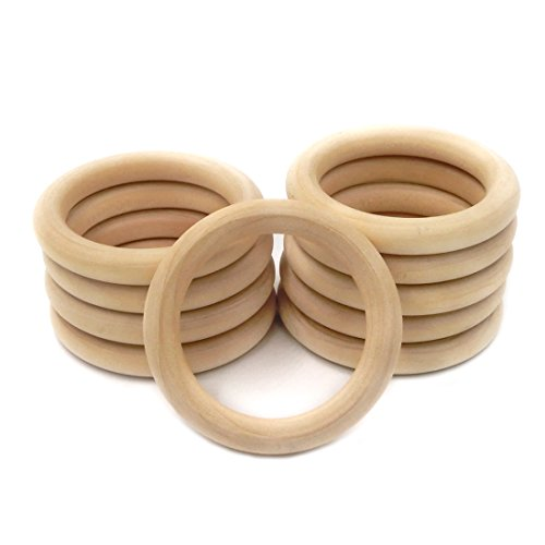 Amyster 20pc 1.18 Inch (30mm) Beech Wooden Ring Teether Baby Teething Toy Accessories Bracelet Eco-friendly Unfinished Wood Craft Baby Teether Toys (1.18inch)