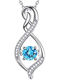 Valentines Day Jewelry Gift Blue Swarovski Infinity Pendant Necklace Sterling Silver Birthday Gift for Her