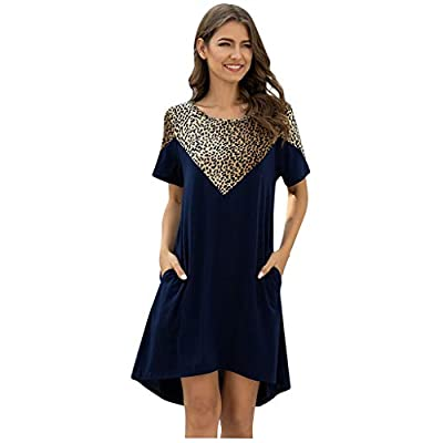 Excursion Clothing Women Summer Dress Short Sleeve Roud Neck Leopard Patchwork Dress Tunic Loose Dress with Pocket