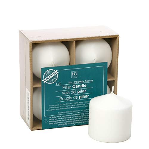 Hosley 3x3 High White Pillar Candles, Set of 4. Unscented. Bulk Buy, Using a Wax Blend. Ideal for Wedding, Birthday Emergency Lanterns, Spa, Aromatherapy, Party, Reiki, Candle Gardens O3