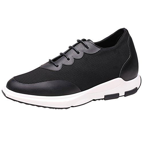 CHAMARIPA Scarpe da Basket con Rialzo Uomo Pelle Sneaker Fino a 7 cm H52C11K013D Nero