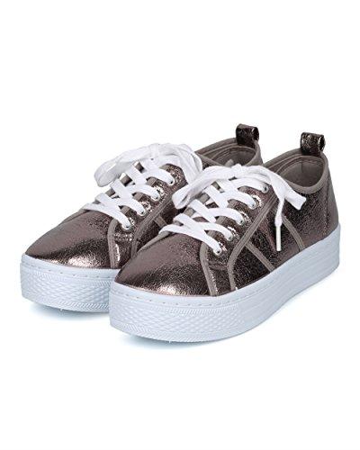 Donna Allacciata Sneaker Flatform - Sneaker Metallico A Piattaforma - Casual Sneaker Versatile Per Tutti I Giorni - Hd20 By Qupid Collection Peltro Metallic