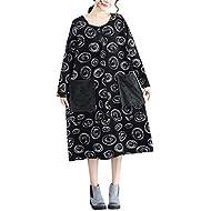 Keliay Bargain Women Plue Size Long Sleeve Patchwork Linen Loose Print Pocket Bohe Long Dress
