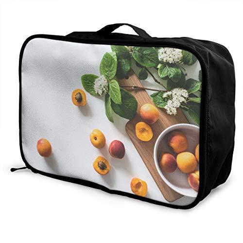 OWZI Customized Foldable Cube Travel Bag Fashion Lightweight Large Capacity Portable Luggage Bag (Apricot Fruits On ()