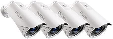 TMEZON 4 Pack OSD Menu AHD TVI CVI VBS 960H Camera 2.0MP 1080P HD 4-in-1 2.8-12mm Varifocal Zoom 42IR LEDs Hybrid Surveillance Security Camera
