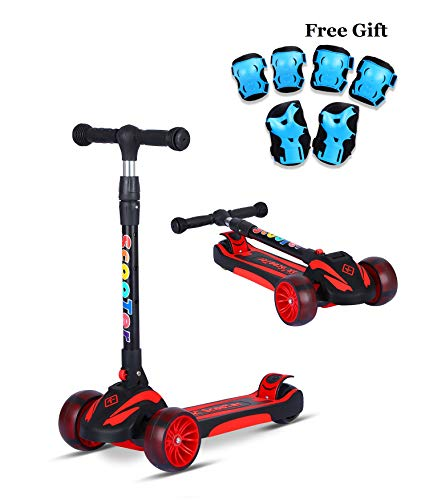 SDSPEED Kick Scooter for Kids Extra Wide Light-Up Wheels(Safety First) Scooter 3 Height Adjustable Wide Deck Best Gifts Kids, Boys Girls