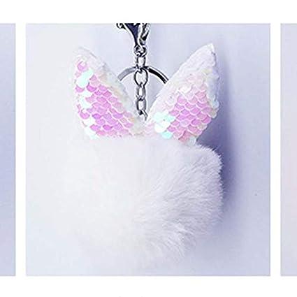 Amazon.com: Rarido Sequins Bunny Pompon Fluffy Porte Clef ...