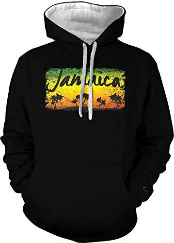 (Jamaica Tropical Scene - Palm Trees Unisex Two Tone Hoodie Sweatshirt (Black/White Strings,)