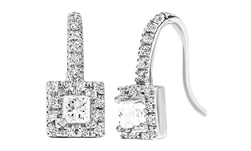 Princess Cut Pave Set Antique Diamond Stud Earrings 14K Solid White Gold (.60 cttw) ()