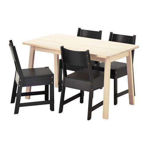 Ikea Table and 4 chairs, white birch, black 20204.20517.1426