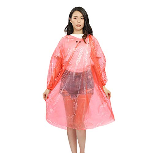 ❤Lemoning❤ 10 Pack Bulk Extra Thick Emergency Waterproof Rain Poncho with Drawstring Hood Raincoat for Men Women Plastic Clear Rain ()