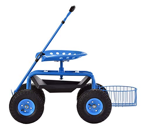 Muscle Carts DRGS331722-BLUE Deluxe Rolling Garden Stool ()