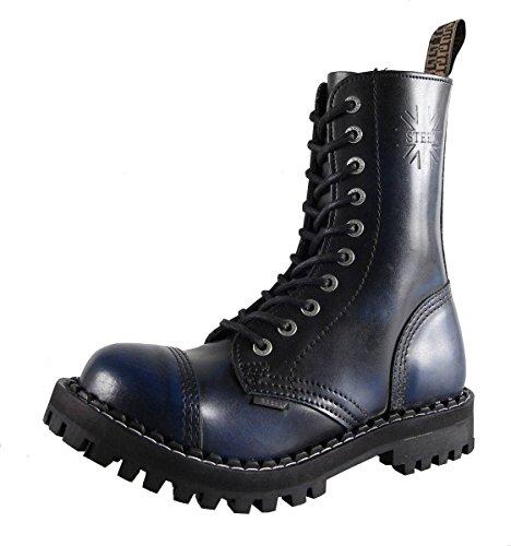 Steel 10 Buchi Stivali Anfibi in Pelle Color blu punta di ferro punk con tappo in acciaio STROFINARE VIA