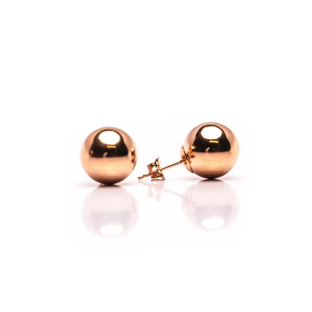 14K Real Rose Gold Ball Stud Earrings Sizes 3 4 5 6 7 8 9 10 12 14