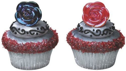 Black & Red Metallic Rose Cupcake Rings. 24 Count (Monster High Rings)
