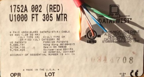 Belden 1752A 002100 4 Pair 24 AWG CAT5E DataTwist Standed 100 Ft Red Patch Cable