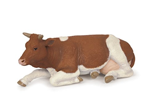 Papo Farmyard Friend Figure, Lying Simmental Cow