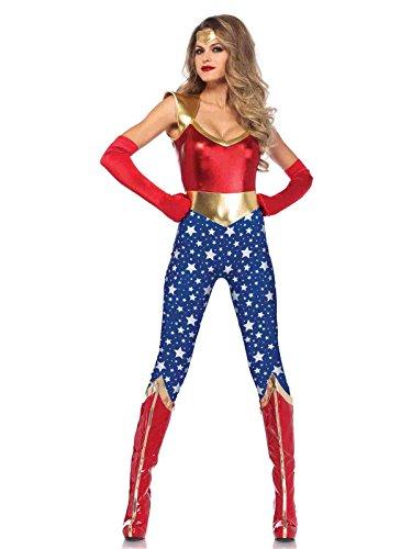 2pc. Sensational Super Hero Catsuit Costume Bundle with Rave Shorts