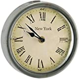 New York Vintage Metro Round Wall Clock - Grey Metal