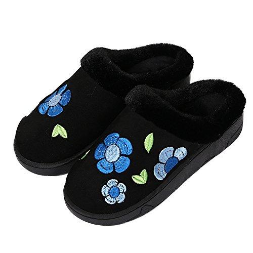 Fleurs De Cyprès Fleurs En Peluche Maison Pantoufle Anti-dérapant Chaud Chaussures En Coton Bleu