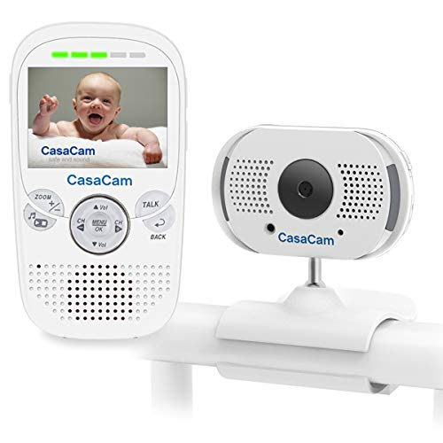 CasaCam BM100 Video Baby Monitor with 2.3 LCD Monitor and Digital ClipCam, Two-Way Audio, Automatic Night Vision, Temperature Monitoring, Night Light and Lullabies (1-cam kit)