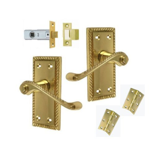 Georgian Brass Lever Latch Door Handles +3 Hinges and 76mm Latch by Dale ()