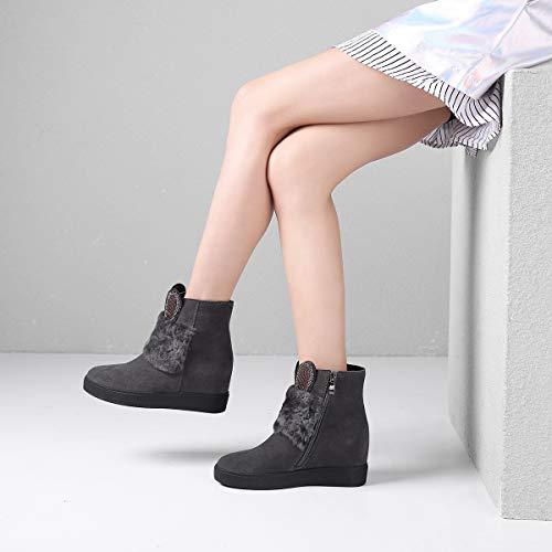 Mujer Cálidos Invierno Aumento Gamuza Invisible Gris Cuña Zapatos Yan Botines De Para Con qwExqZTS