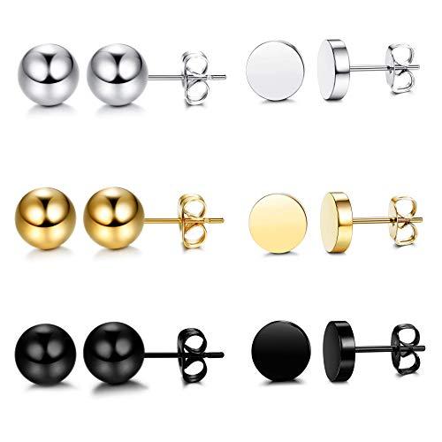 c57c579fa49f8 Jual Besteel 6-12 Pairs Stainless Steel CZ Stud Earrings Hoop ...