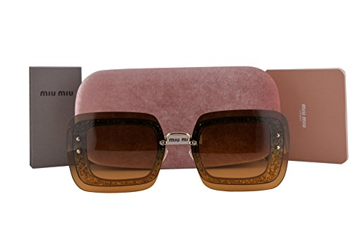 - Miu Miu MU01RS Sunglasses Transparent Brown Glitter w/Orange Green Gradient Lens PC80A3 MU 01RS For Women