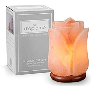 d'aplomb 100% Authentic Natural Himalayan Salt Lamp; Hand Carved Flower Rose Pink Crystal Rock Salt from Himalayan…
