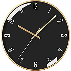 Virtper US Round Modern Wall Clock Mute Silent Gold Metal Dial with Glass Black Dial Digital Design Quartz Clock (Color : Gold, Size : 12 inches)